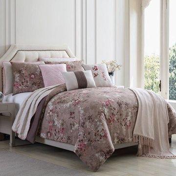 Pacific Coast Textiles 10 Piece Reversible Comforter & Coverlet Set