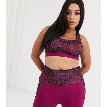 Wolf & Whistle curve tie dye sports bra in purple