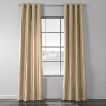 Exclusive Fabrics Solid Country Cotton Linen Weave Grommet Curtain (50 X 108 - Camel)