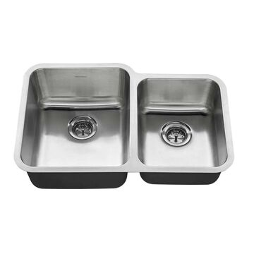 American Standard Undermount 31-in x 20-in Stainless Steel Double Equal Bowl Kitchen Sink | 18CR.9312000T.075