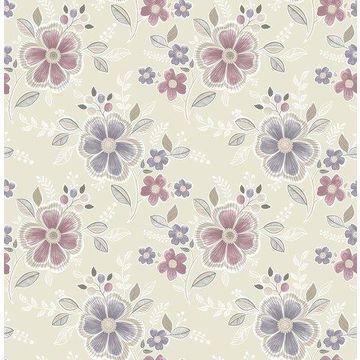 Brewster 2657-22203 Chloe Purple Floral Wallpaper
