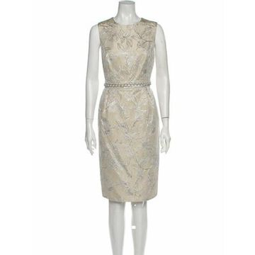 Floral Print Knee-Length Dress Metallic