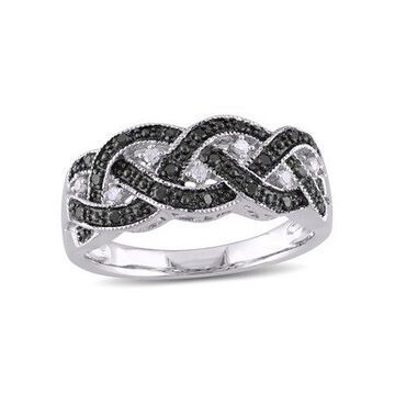 1/6 Carat T.W. Black and White Diamond Sterling Silver Crisscross Ring