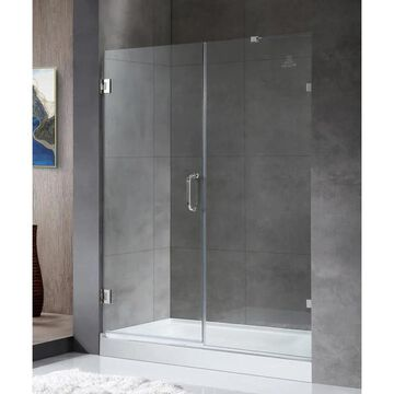 ANZZI Consort series 72-in H x 60-in to 60-in W Frameless Hinged Polished Chrome Shower Door (Clear Glass) Stainless Steel | SD-AZ07-01CH