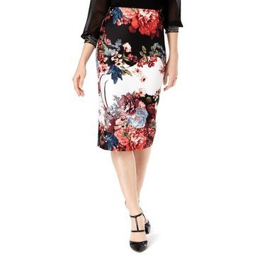 ECI Womens Floral Textured Pencil Skirt