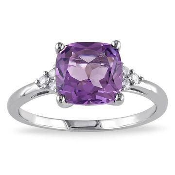 Miadora 10k White Gold Amethyst and Diamond Ring