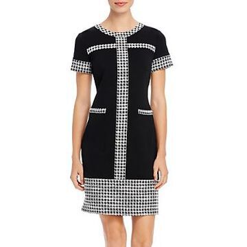 Karl Lagerfeld Paris Houndstooth-Trim Dress