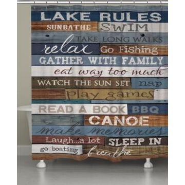 Laural Home Lake Rules Shower Curtain Bedding