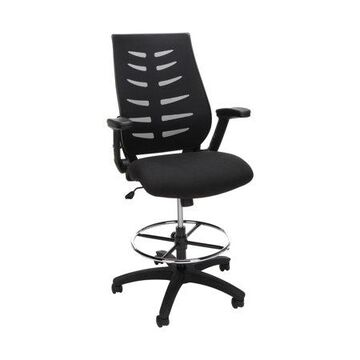 OFM Mid Back Mesh Drafting Chair, Drafting Stool, with Lumbar Support, in Black (531-BLK)