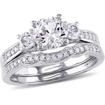 1-1/3 Carat T.G.W. Created White Sapphire with 1/7 Carat T.W. Diamond 10kt White Gold Three-Stone Bridal Set