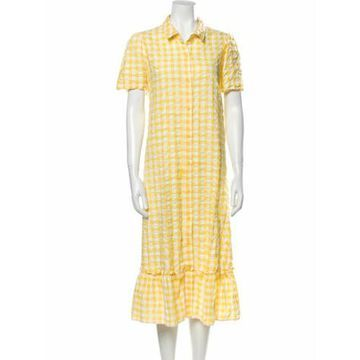 Plaid Print Midi Length Dress Yellow