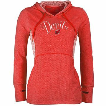 Women's Antigua Heathered Red New Jersey Devils Fashion Rundown Pullover Hoodie