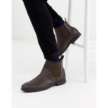 Jack & Jones faux leather chelsea boots in brown