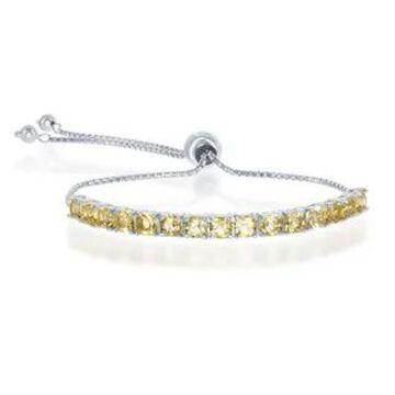 La Preciosa Sterling Silver Natural 4mm Blue Topaz Gemstone Birthstone Women's Adjustable Tennis Bracelet (November - Gold - Citrine - Yellow)