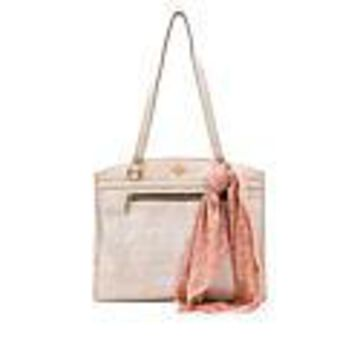 Patricia Nash Poppy Leather Top-Zip Tote - Natural White Woven