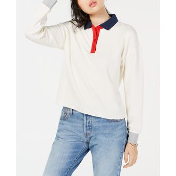 Juniors' Colorblocked Polo Sweatshirt