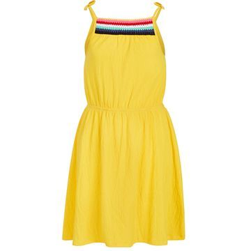 Big Girls Crochet-Trim Crinkle Dress, Created for Macy's