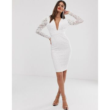 Vesper midi stretch lace pencil dress with ruched sleeve in cream