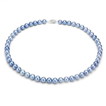 DaVonna Sterling Silver 7-8mm Blue Freshwater Pearl Necklace (36 Inch)