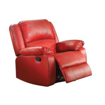 Benzara Leather Rocker Recliner Chair in Red