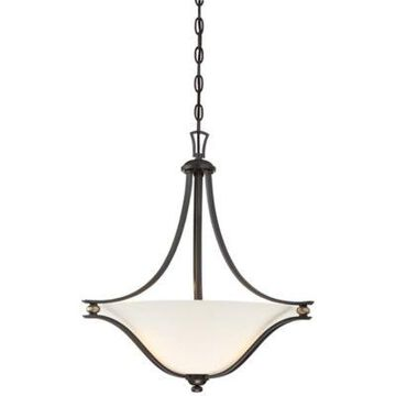 Minka Lavery Shadowglen 3-Light Pendant in Lathan Bronze with Glass Shade