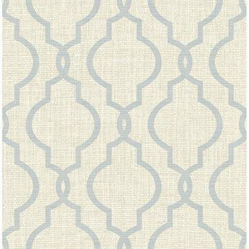 Kenneth James Geometric Jute Grey Quatrefoil Wallpaper