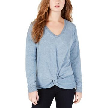 Hippie Rose Womens Knot-Front Ribbed Trim V-Neck Sweater