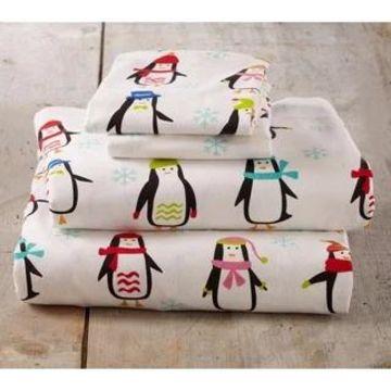 Home Fashion Designs Super Soft Printed Turkish Cotton Flannel Bed Sheet Set (Penguins - King)