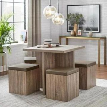 Simple Living Baxter Dining Set with Storage Ottomans (Taupe)