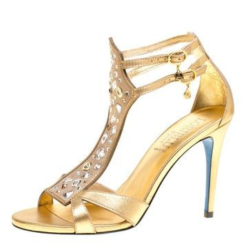 Loriblu Metallic Gold Leather and Suede Crystal Embellished Sandals Size 38.5