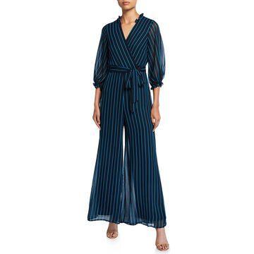 Striped 3/4-Sleeve Wide-Leg Chiffon Jumpsuit
