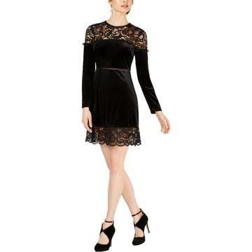 Avec Les Filles Womens Velvet Lace Cocktail Dress