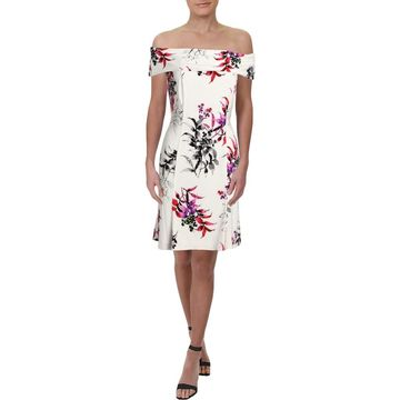 American Living Womens Mini Dress Off-The-Shouler Floral
