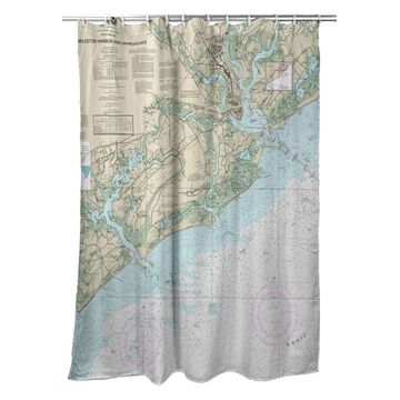 SH11521 70 x 72 in. Charleston Harbor & Approaches, SC Nautical Map Shower Curtain