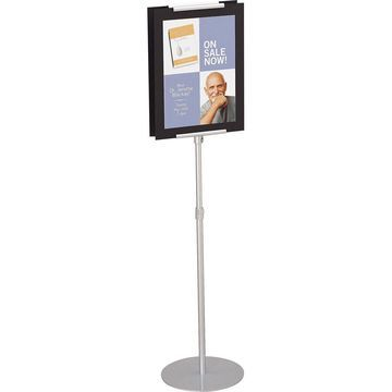 Quartet 7923 Sign Stand Adjustable Holds 2 Signs 15inx15inx44-73in Silver