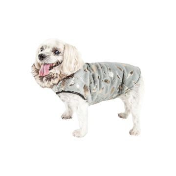 Pet Life Luxe 'Gold-Wagger' Gold-Leaf Designer Fur Dog Jacket Coat