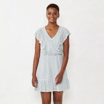 Petite LC Lauren Conrad Trim Inset Fit & Flare Dress, Women's, Size: Small Petite, White