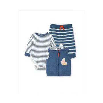 Little Me Newborn 3-Piece Safari Friends Vest, Bodysuit And Pant Set In Blue