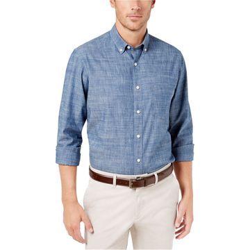 Club Room Mens Chambray Button Up Shirt