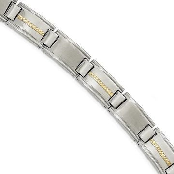 Chisel Stainless Steel Polished and Brushed with 14 Karat Gold Link Bracelet