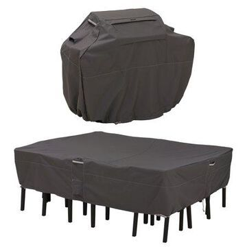 Classic Accessories Ravenna Water-Resistant 64 Inch BBQ Grill Cover and 108 Inch Rectangular/Oval Patio Table & Chair Set Cover Bundle