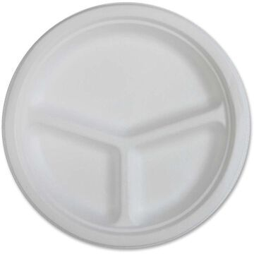 Genuine Joe 3-compartment Disposable Plates- 50/Pack- 10in Diameter Plate- Sugarcane- Disposable- White- 500/Carton