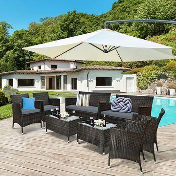 Costway 8PCS Rattan Patio Furniture Set Cushioned Sofa Chair Coffee Table Garden Grey