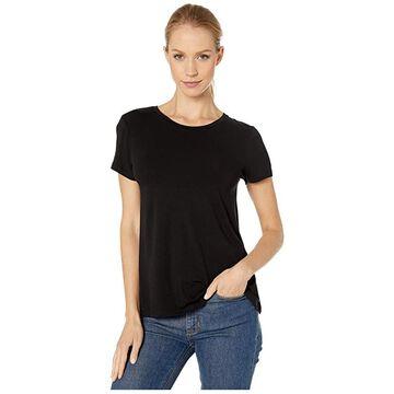 Majestic Filatures Short Sleeve A-Line Crew Neck (Noir) Women's T Shirt