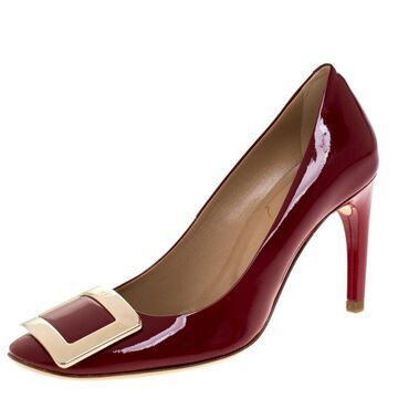 Roger Vivier Red Patent Leather Buckle Pumps Size 35.5