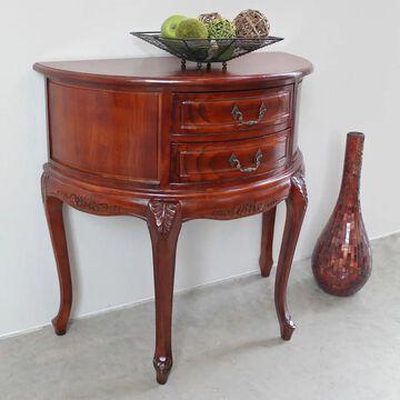 International Caravan Windsor Carved Half-Moon Console Table