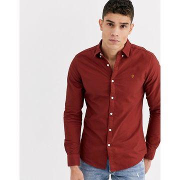 Farah Brewer slim fit oxford shirt in burnt red