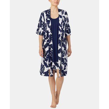 Border-Print Chemise Nightgown & Printed Wrap Robe Set