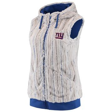 Women's Antigua Silver/Royal New York Giants Rant Hooded Full-Zip Vest