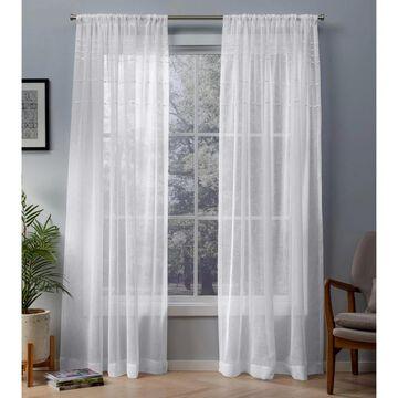 ATI Home Davos Embellished Sheer Rod Pocket Top Curtain Panel Pair